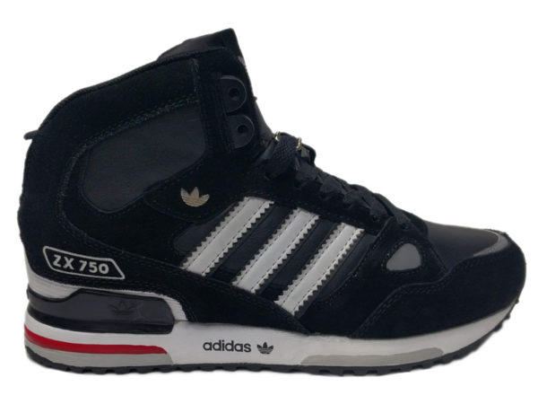 Зимние Adidas ZX 750 черные с белым