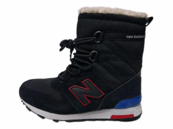 Зимние New Balance 574 Suede высокие черные