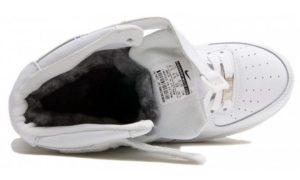 Зимние Nike Air Force 1 Mid с мехом White белые 35-45