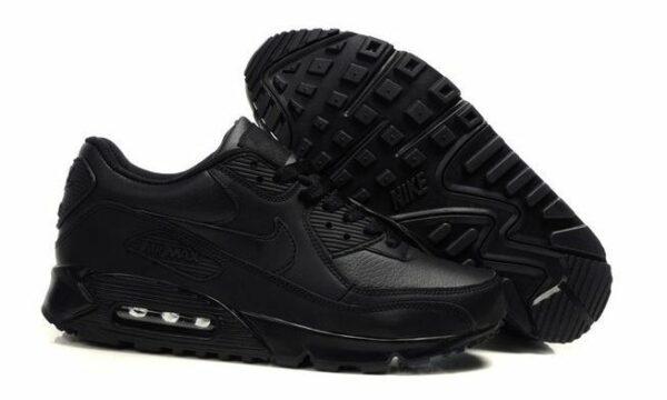 Зимние Nike Air Max 90 с мехом Black черные (35-44)