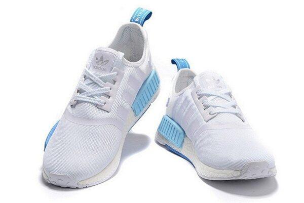 Adidas NMD R1 белые с серым и голубым женские (35-40)