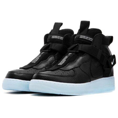 Nike Air Force 1 Utility Mid чёрные кожаные мужские (40-44)