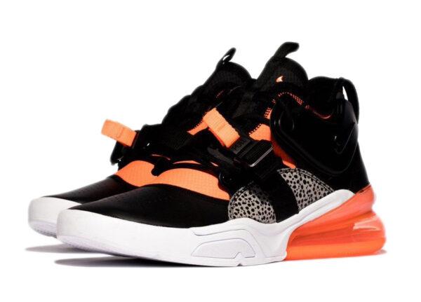 Nike Air Force 270 черные-серые-оранжевые кожаные мужские (40-44)