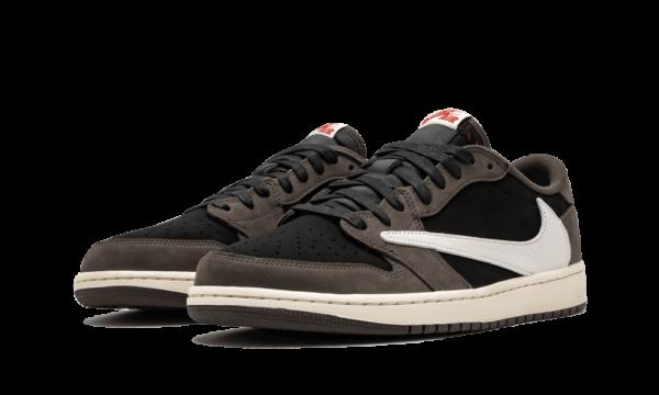 Nike Air Jordan 1 Travis Scott Low коричнево-белые с черным кожа-нубук мужские (40-44)