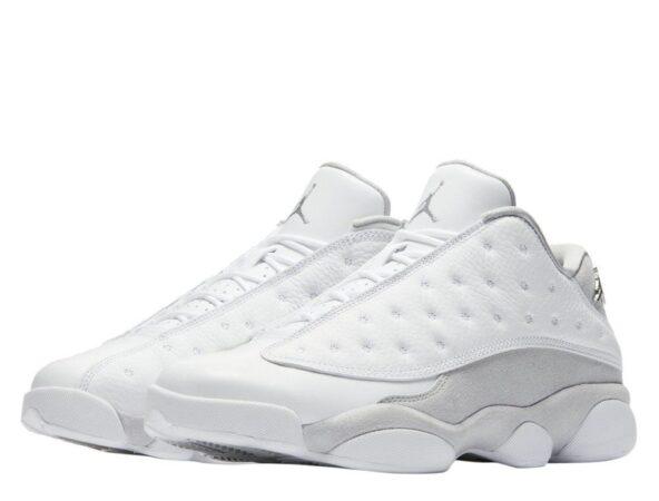 Nike Air Jordan 13 белые с серым кожаные мужские (42-45)