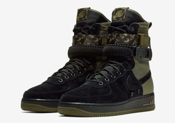 Nike Air Force 1 SF Mid черно-зеленые нубук-нейлон мужские (40-44)