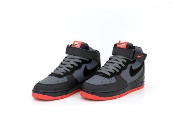 Nike Air Force 1 Mid 07 серые с черным кожаные мужские (40-44)