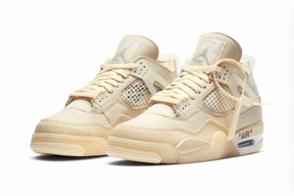 Nike Air Jordan 4 off White Sail бежевые нубук мужские-женские (35-44)