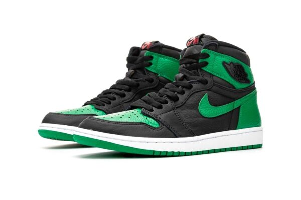 Nike Air Jordan 1 Retro зелено-черные кожаные женские (35-40)