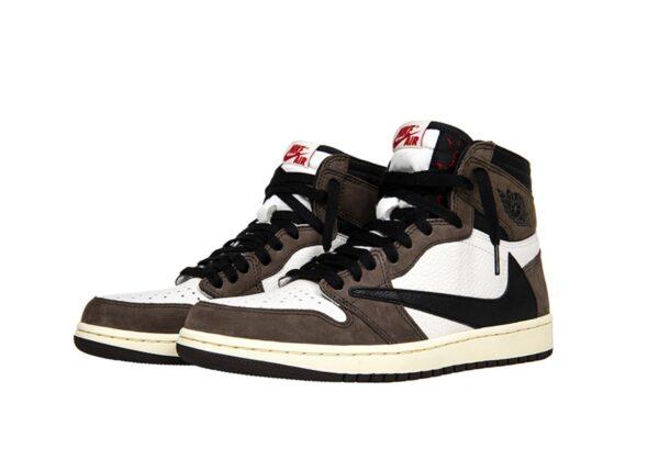 Зимние Nike Air Jordan 1 Travis Scott с мехом коричнево-белый камуфляж с черным кожа-нубук мужские-женские (35-44)