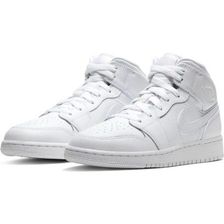 Зимние Nike Air Jordan 1 Retro High с мехом белые кожаные мужские-женские (36-45)